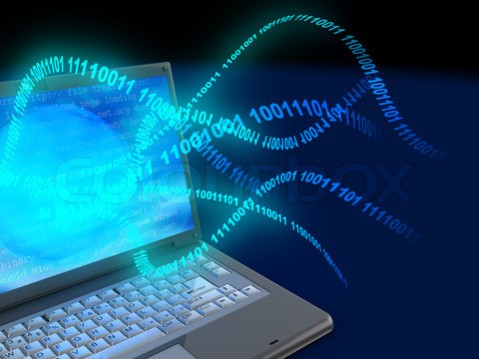 3d illustration of laptop computer with binary code stream